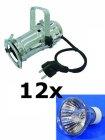 12x PAR-16 Spot silber + GU-10 50W Lampen