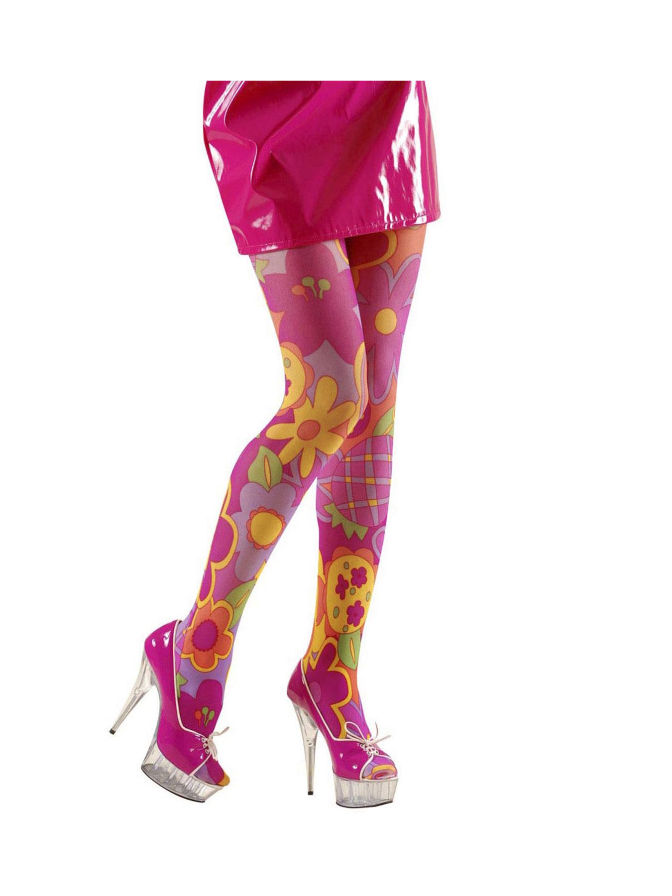 Strumpfhose Pink-Schwarz Karneval Fasching Einheitsgröße