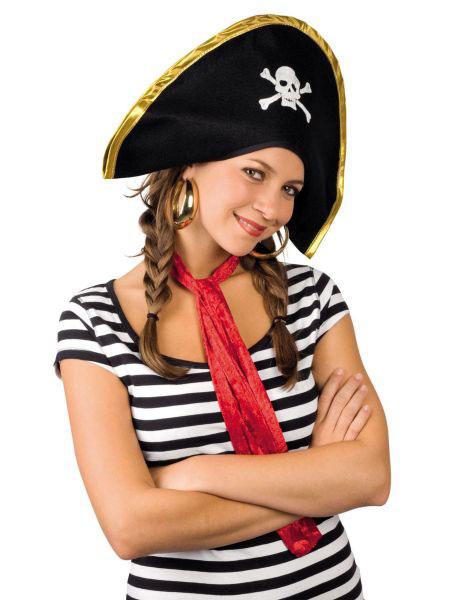 Faschingshut Pirat Dirty Joe Dreispitz mit Haar Piratenhut Karneval Fasching