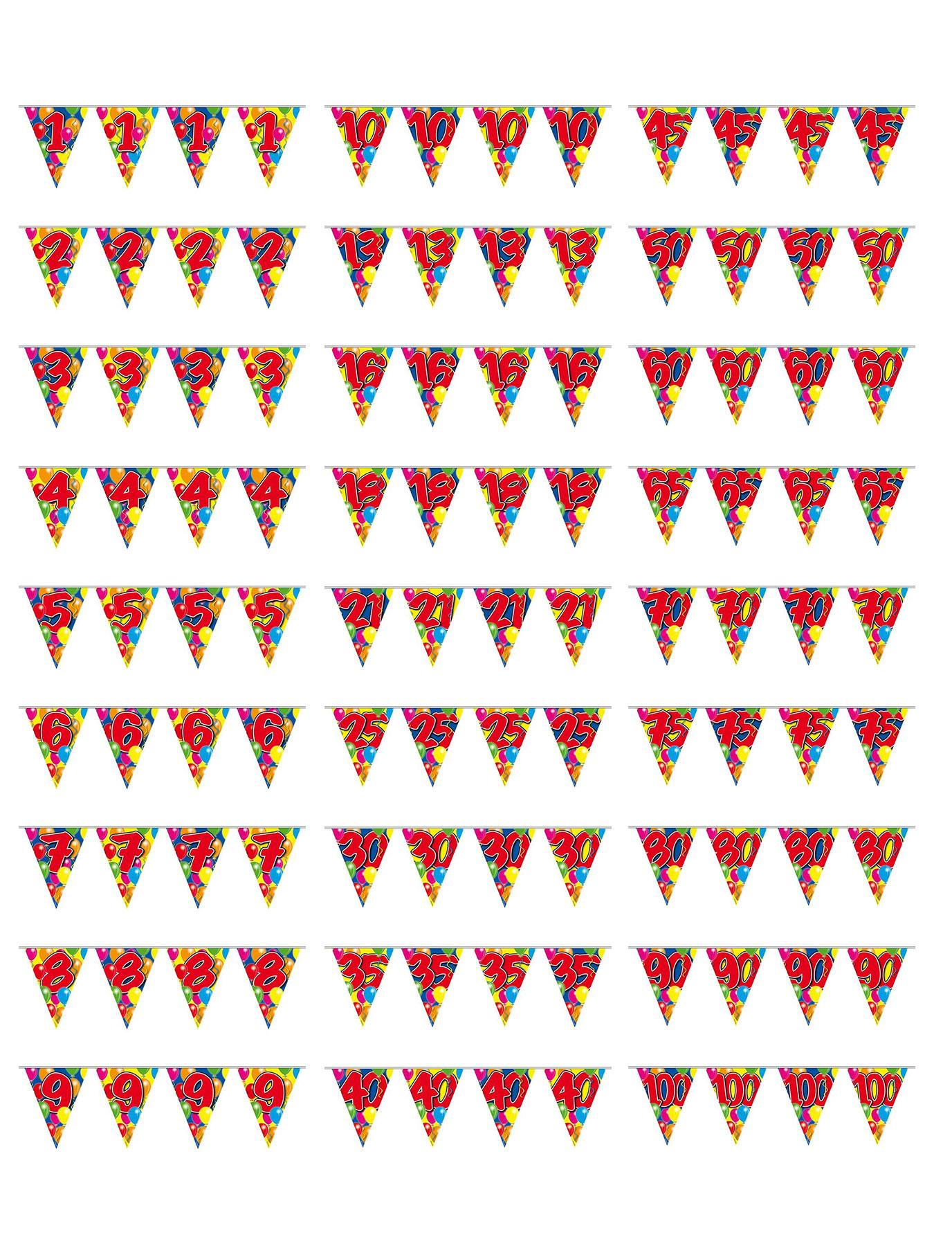 Geburtstag bunt L=10 m Girlande Party Fest Feier Jubiläum Wimpelkette 25
