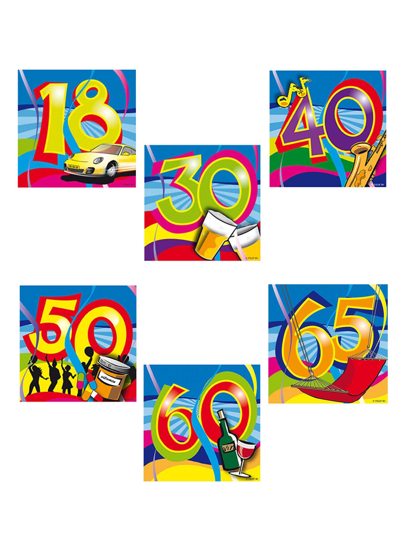 20x Servietten Geburtstag Zahl 65 Party